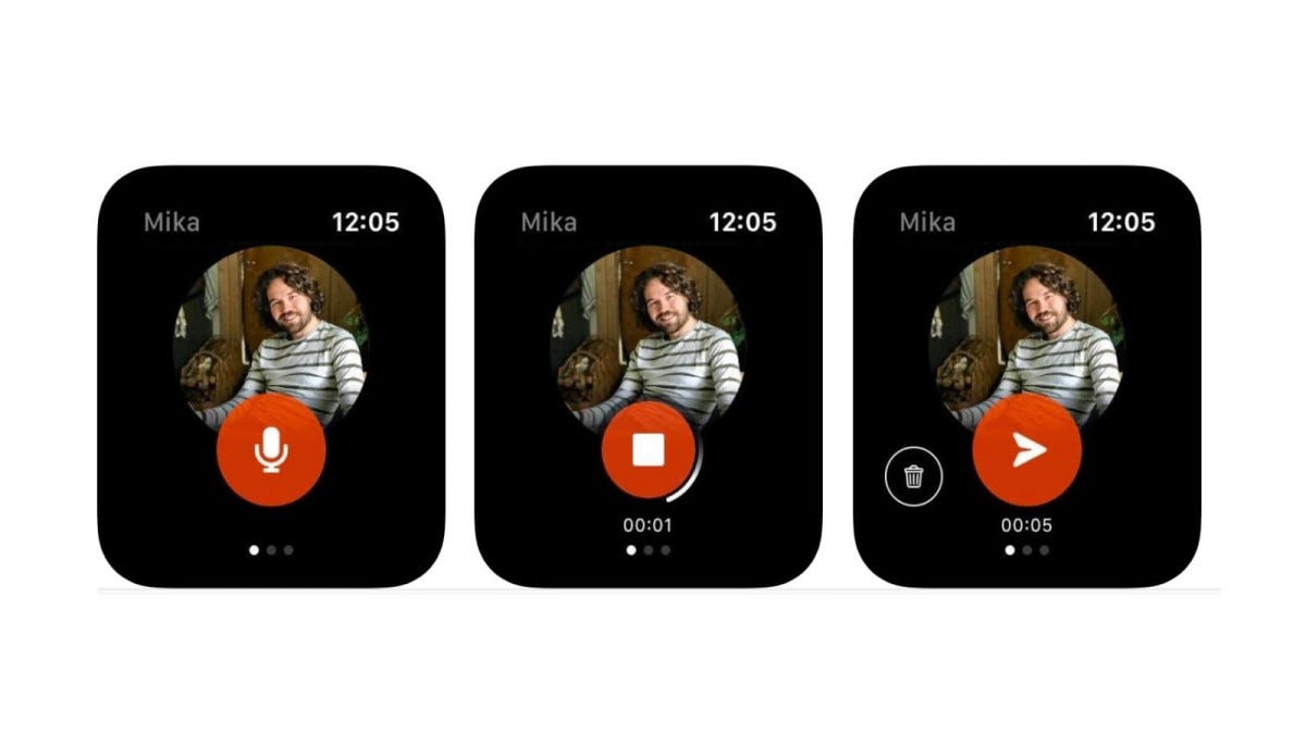 Three images of a messenger profile on the KIT Apple Watch App