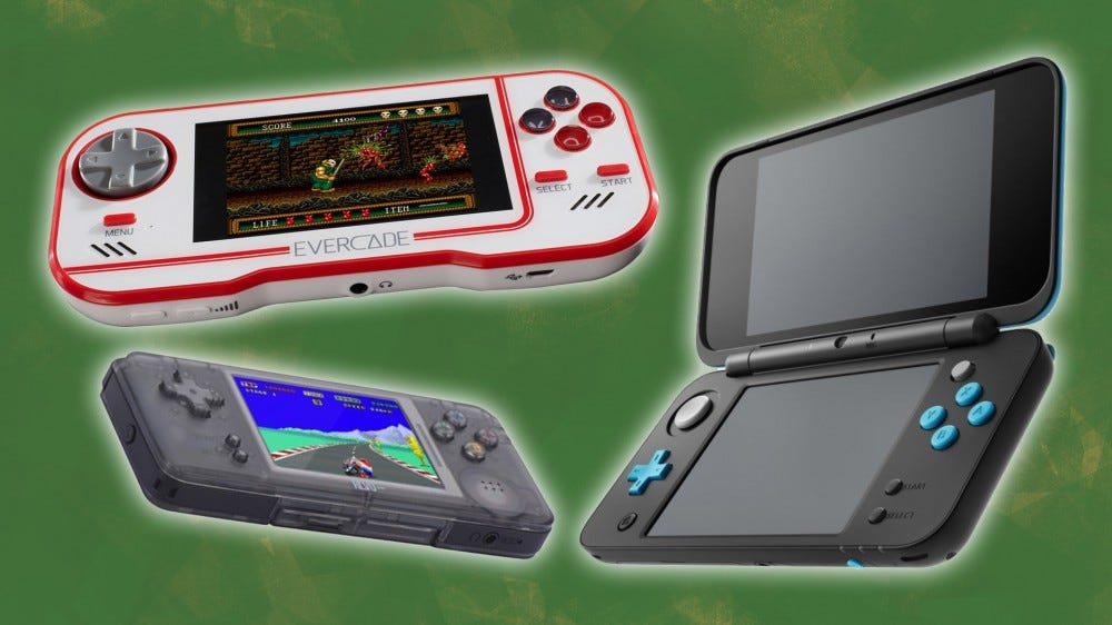 Evercade, Nintendo 2DS XL, and Revo K101