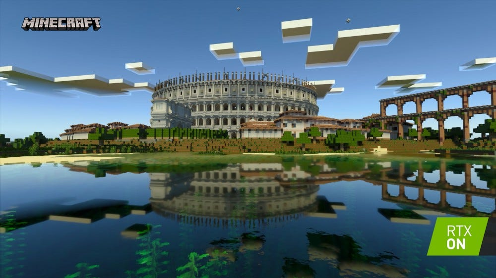 A colosseum in Minecraft with realistic lighting.