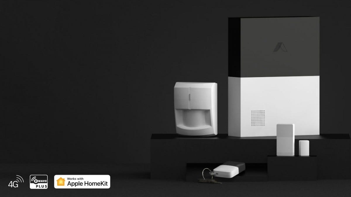 An Abode Smart Security System with HomeKit logos