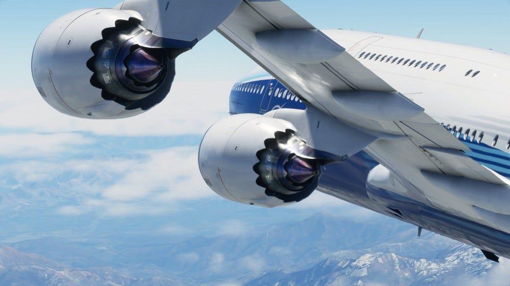 A 747 airplane in Microsoft 'Flight Simulator'