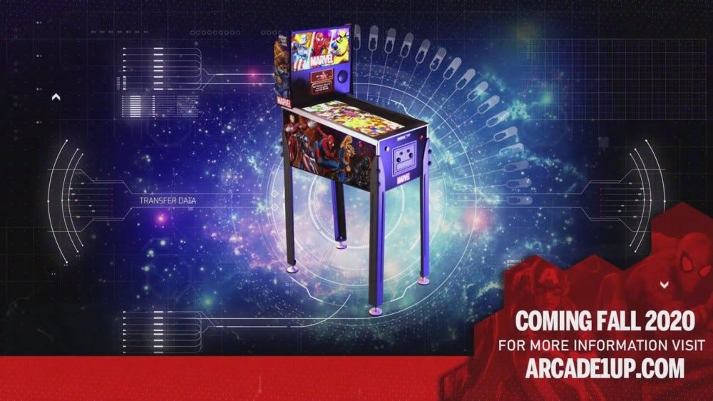 The Marvel Pinball machine on metal legs.