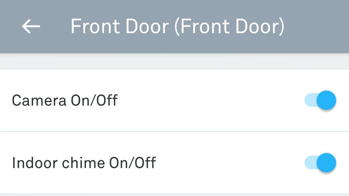 The Nest app, with Vidoe doorbell chime on/off togle.