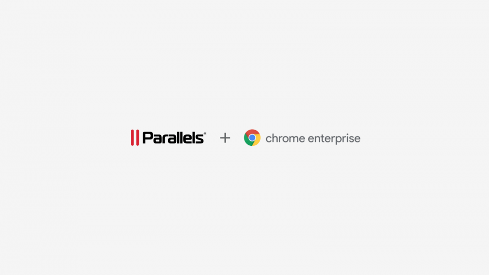 Parallels and Chrome Enterprise logos on a soft gray background