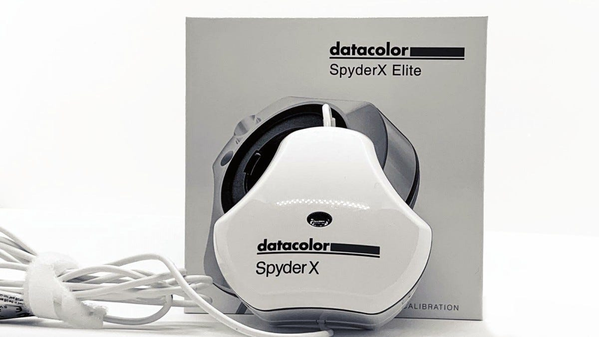 The datacolor SpyderX Elite monitor calibration tool.