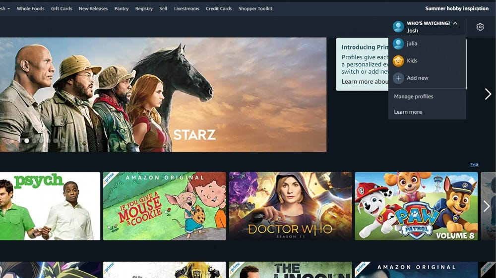 A screenshot of the Prime Video page with the Who's Watching menu.