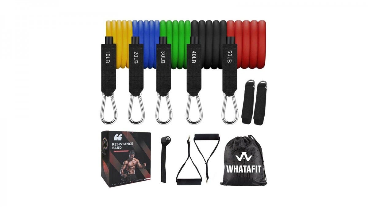 Five resistance bands in yellow, blue, green, black, and red, two handles and ankle straps, a door anchor, a carrying bag, and the box.