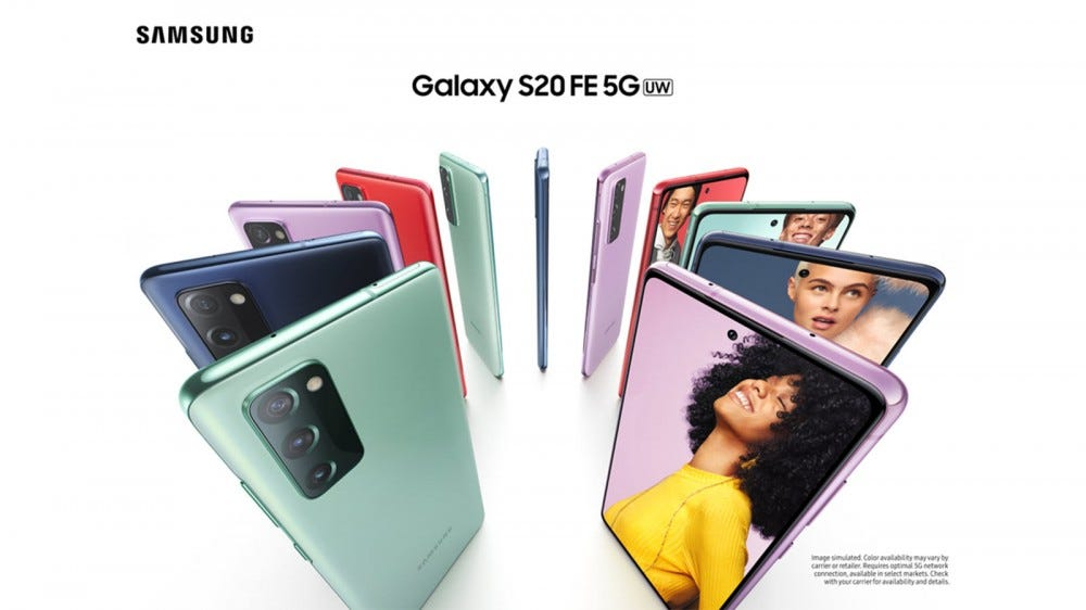 The Samsung Galaxy S20 FE in Cloud Red, Cloud Orange, Cloud Lavender, Cloud Mint, Cloud Navy, and Cloud White.