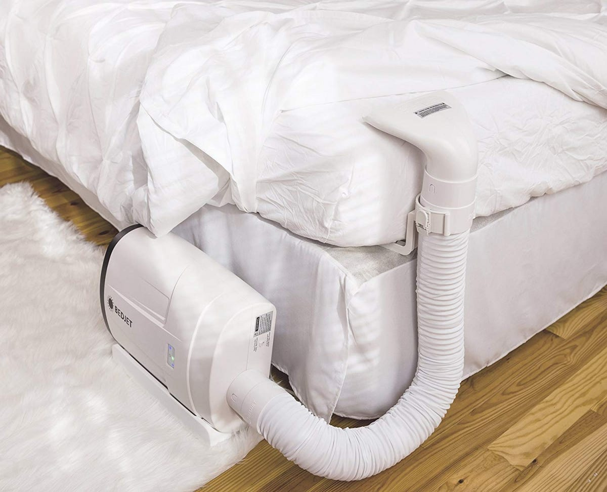 The BedJet is expensive, but it's basically dedicated air conditioning for your sheets.