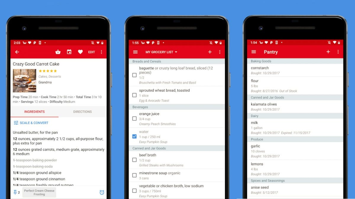 Several screenshots of the Paprika app