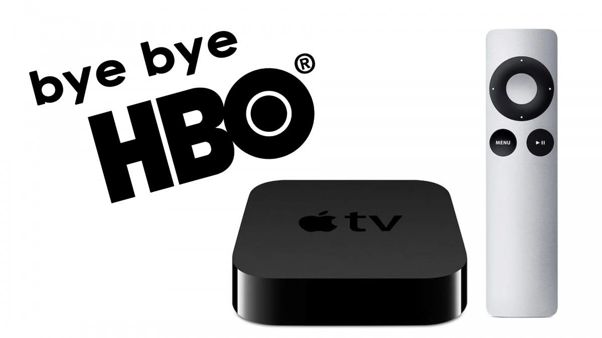 An illustration of HBO leaving old Apple TVs