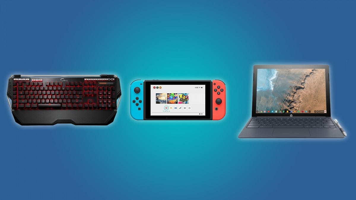 The G.SKill Ripjaws Keyboard, the Nintendo Switch Console, the HP Chromebook x2