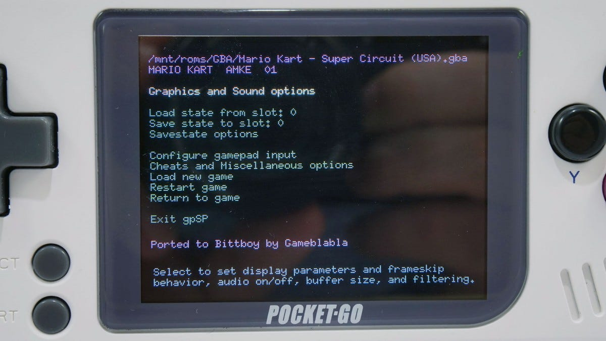 An emulator settings menu on the PocketGo screen.