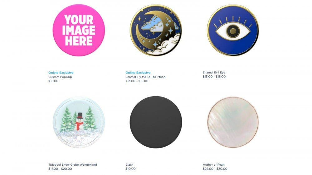 PopSockets PopGrips options