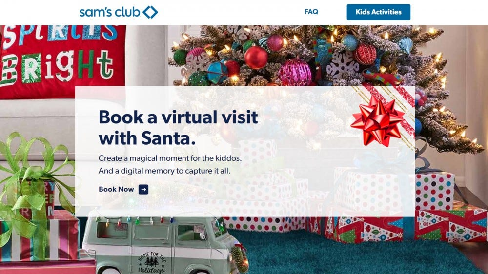 Sam's Club virtual Santa visit options for photo account members