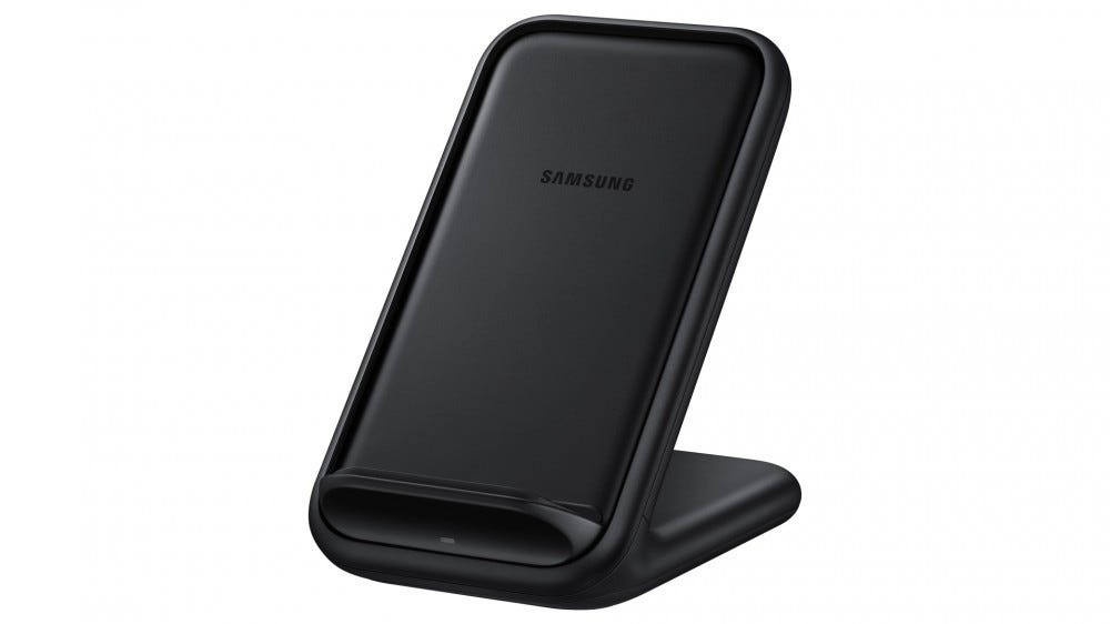 A photo of Samsung's official wireless charging stand.