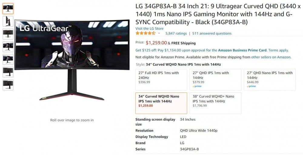 Amazon LG monitor listing