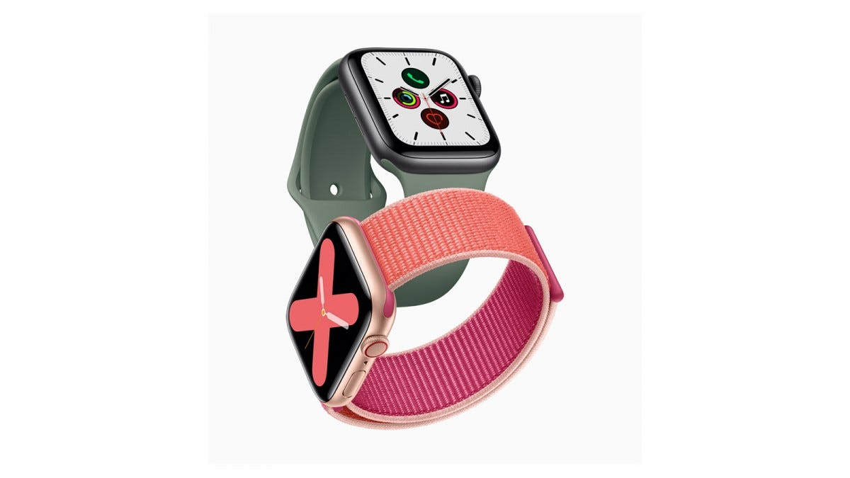 Two Apple Watches, one with a pink band and one in grey.