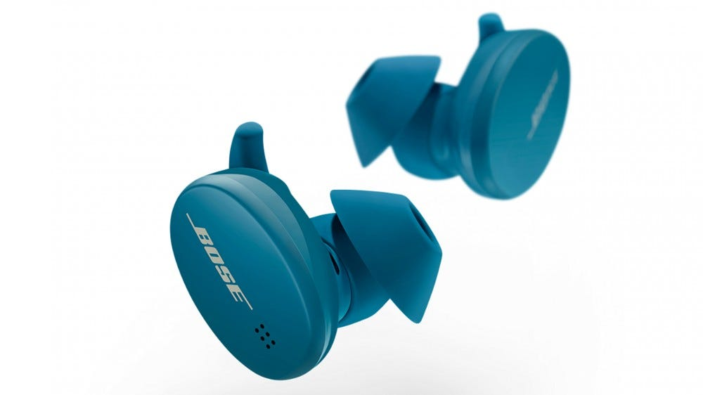 Bose Sport Earbuds in blue, against a white background