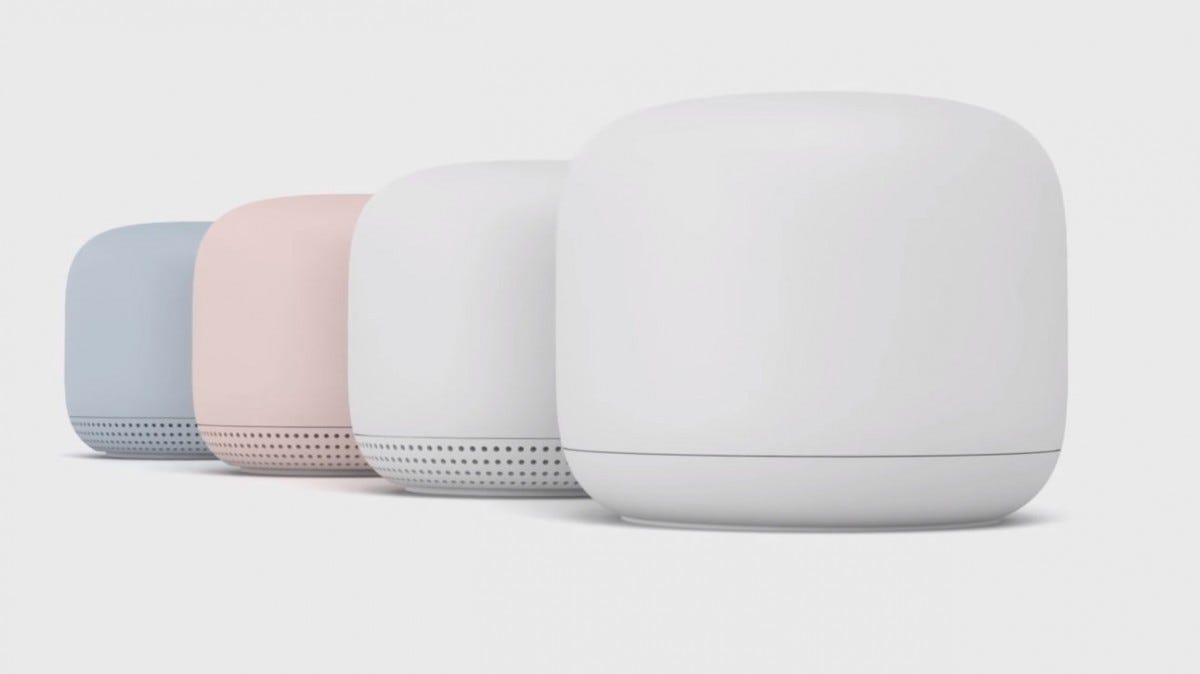 The new Google Wifi router and range extender.