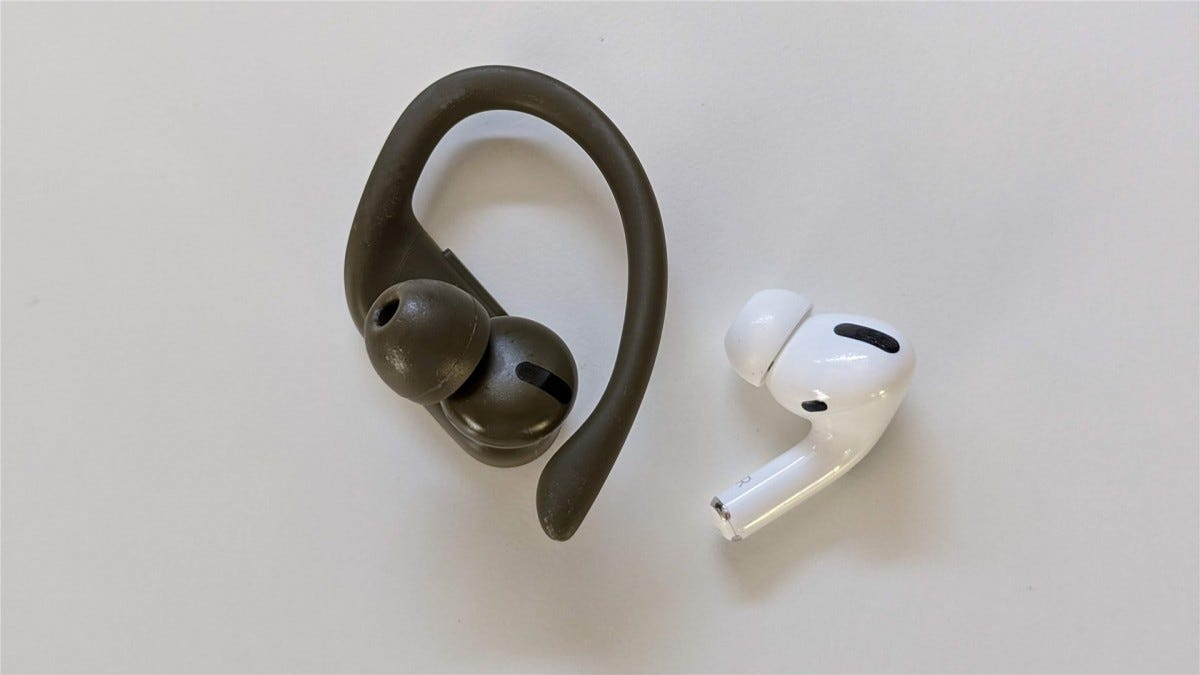 Powerbeats Pro and Airpods Pro right earbuds. side by side