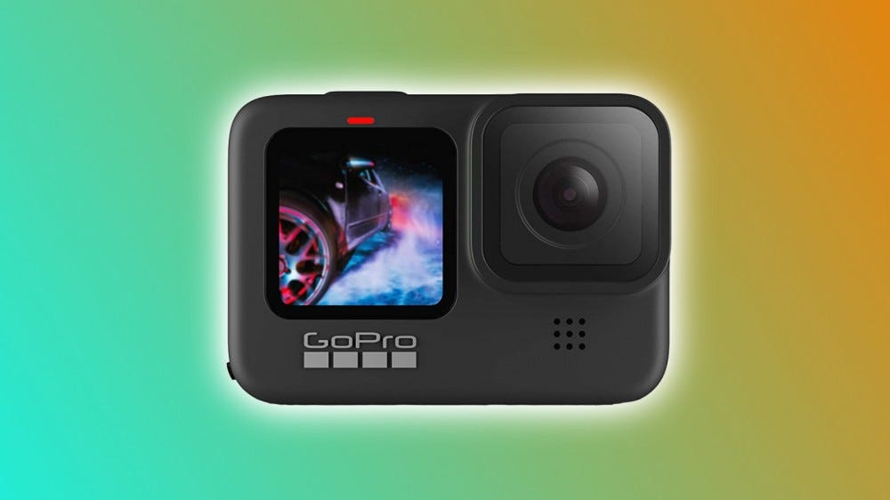 GoPro HERO9 Black on a multi-color backdrop