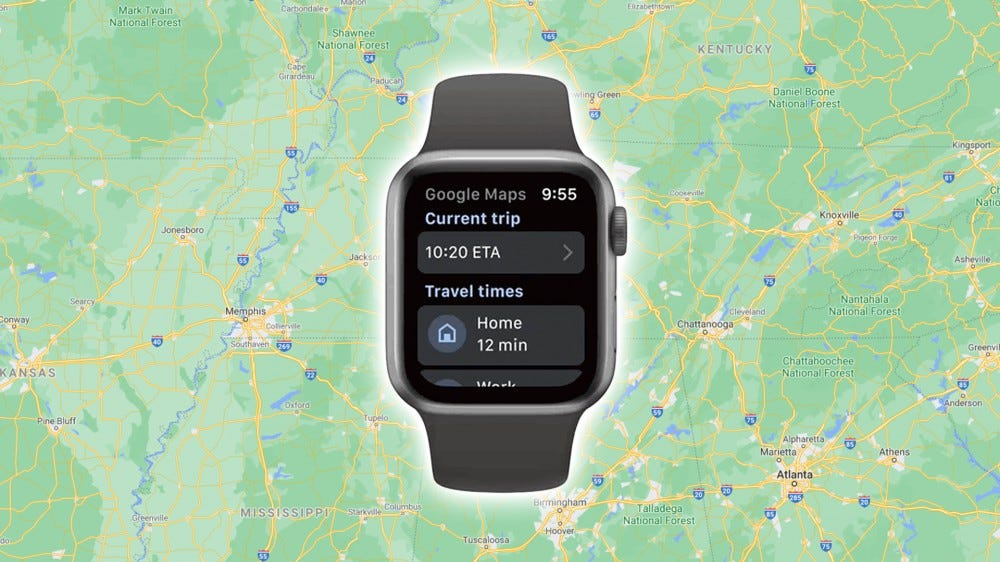 The Apple Watch running Google Maps.