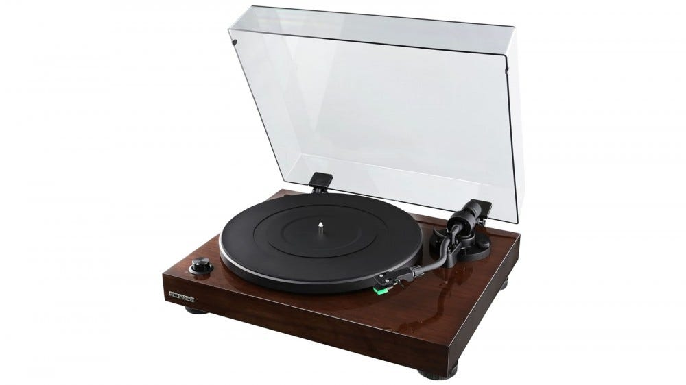 Fluance RT81 turntable with a wooden base