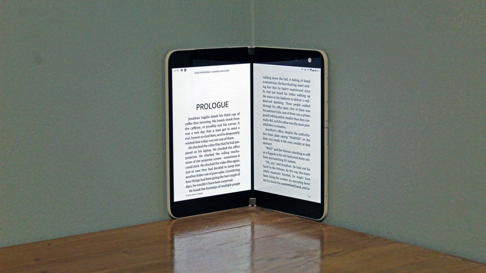 A kindle app, showing a page of a book on each display.