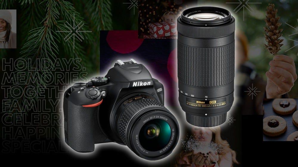 A Nikon D3500 DSLR over a holiday backdrop.