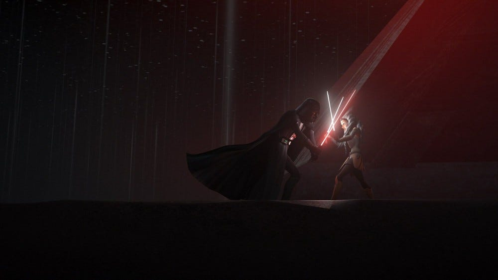 Darth Vader and Ahsoka from 'Star Wars' fighting on a distant planet.