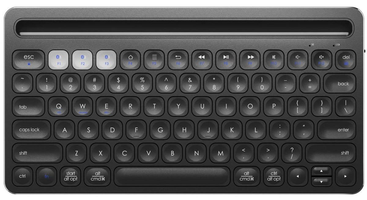 The iClever Bluetooth multi-device keyboard from the top.