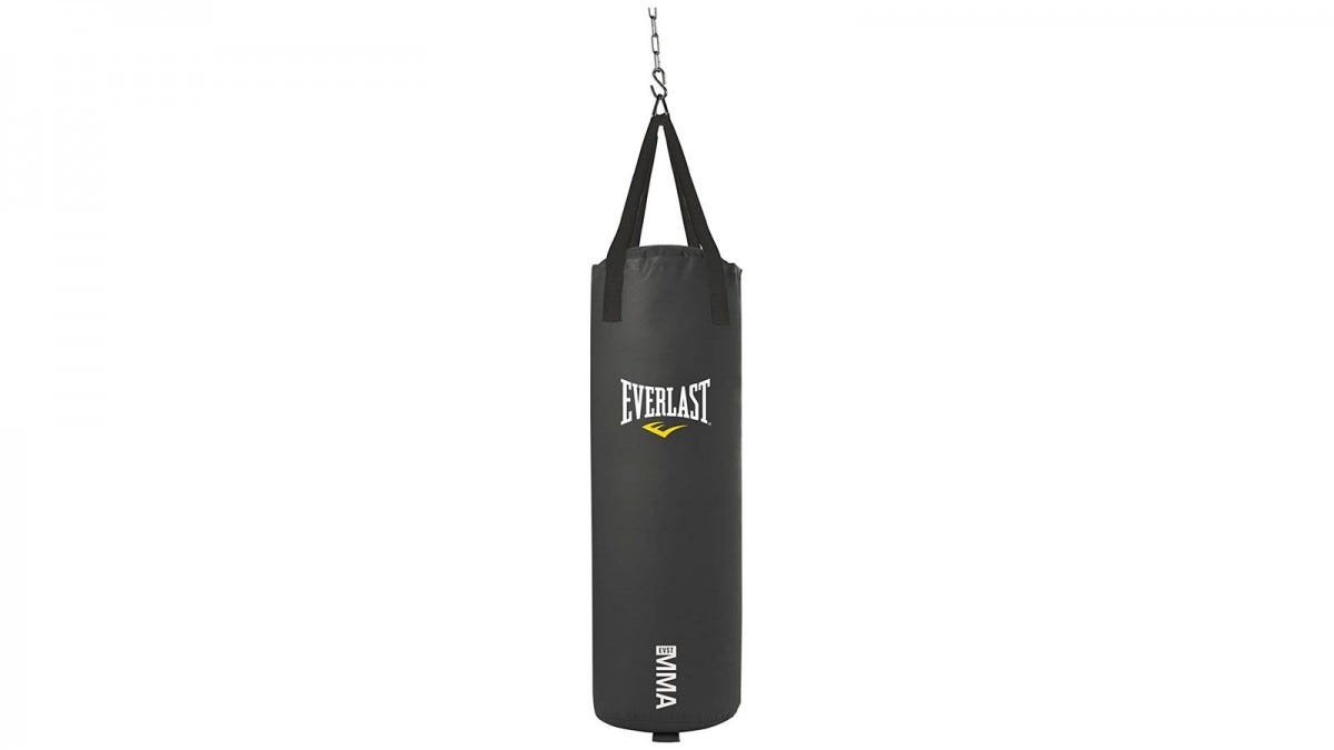 The Everlast 70-Pound Heavy Bag hanging from a ceiling chain.