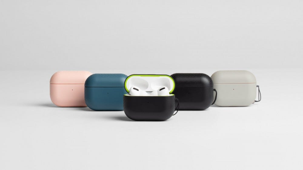 A set of AirPod Pro protective cases in Black, Blue, Black Volt, Rose Coral, and Grey Tangerine