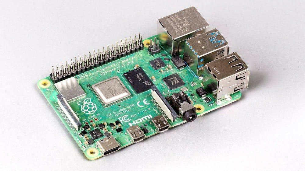 A Raspberry Pi 4 against a white background.
