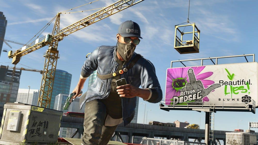 A screenshot from Watchdogs 2