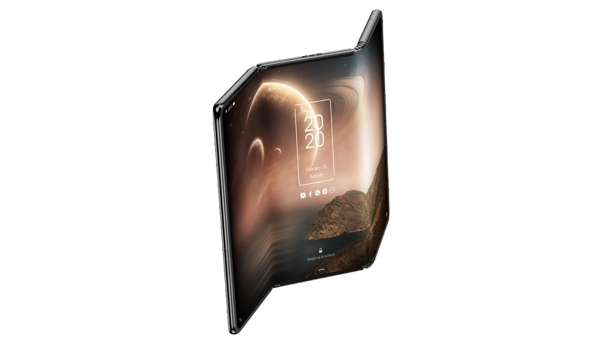 A tablet display with two hinges slightly bent to form an almost Z shape