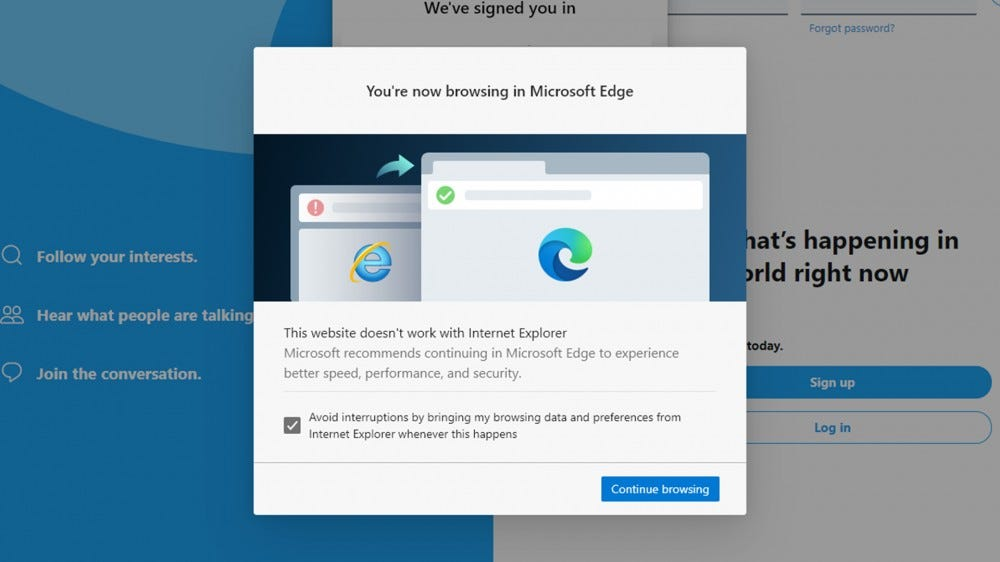 "A screenshot of the ""You're now browsing in Microsoft Edge"" popup."