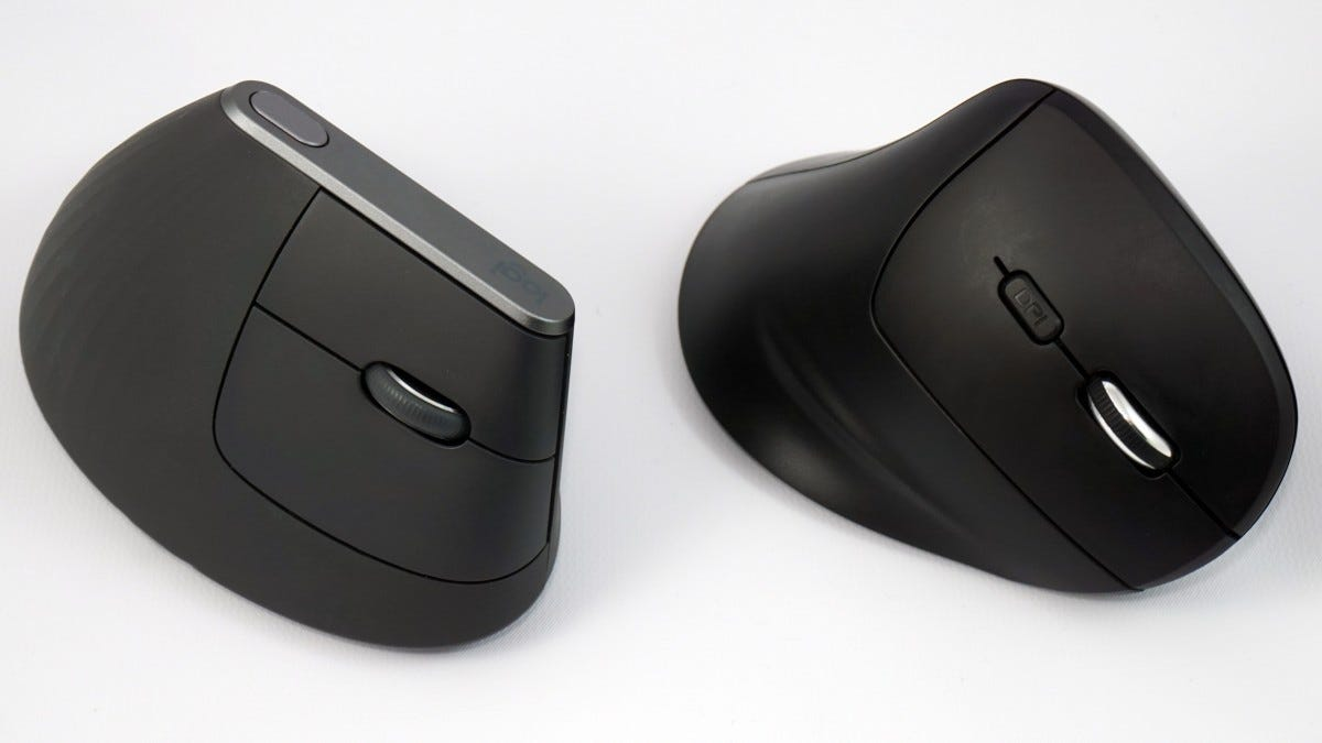 Logitech's MX Vertical mouse sitting next to the iClever Vertical Mouse.