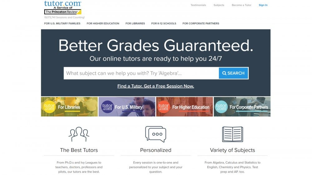Tutor.com website with subject and supervisor options