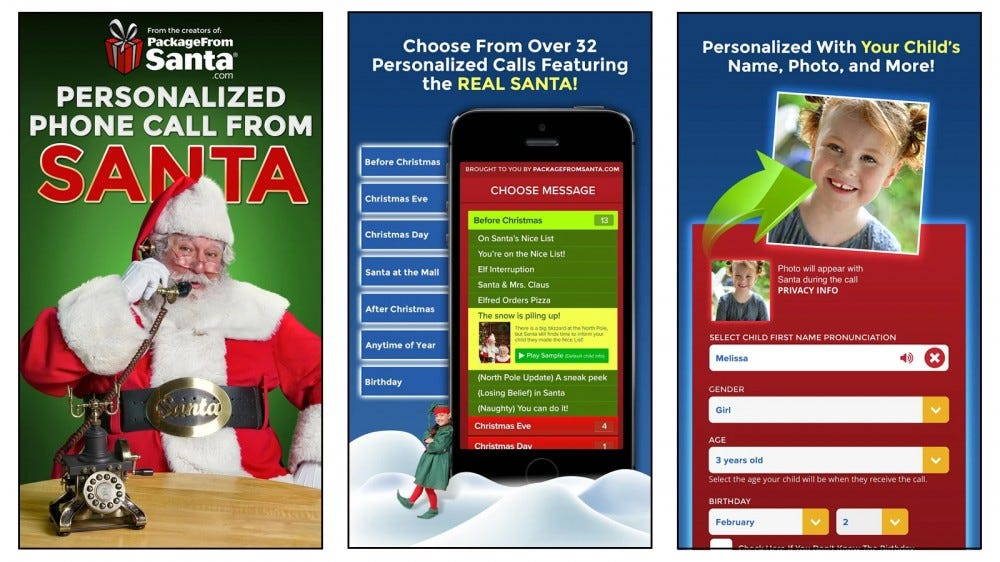 Pack of Santa app with phone call personalization options for kids