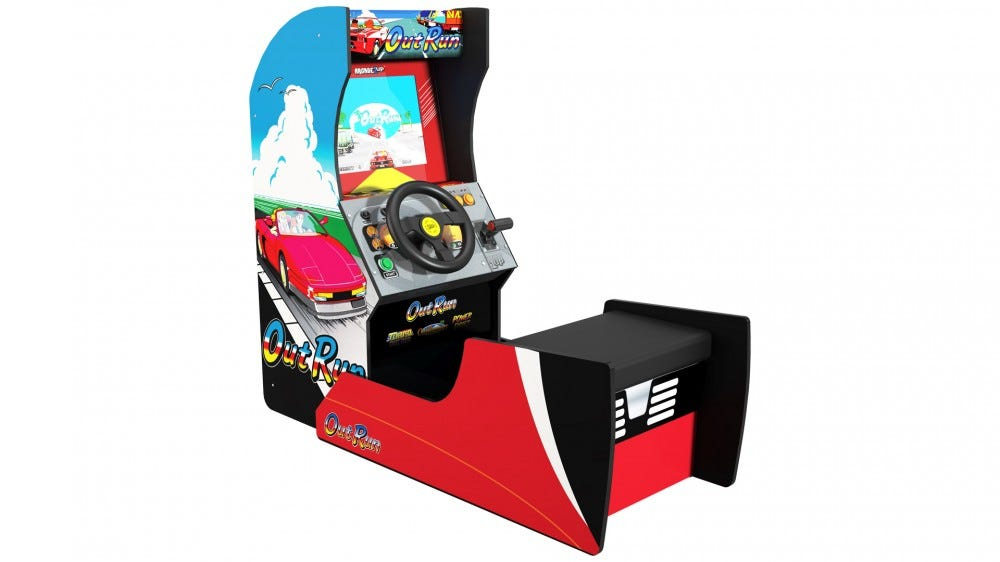 An 'OutRun' cabinet with sitdown bench.