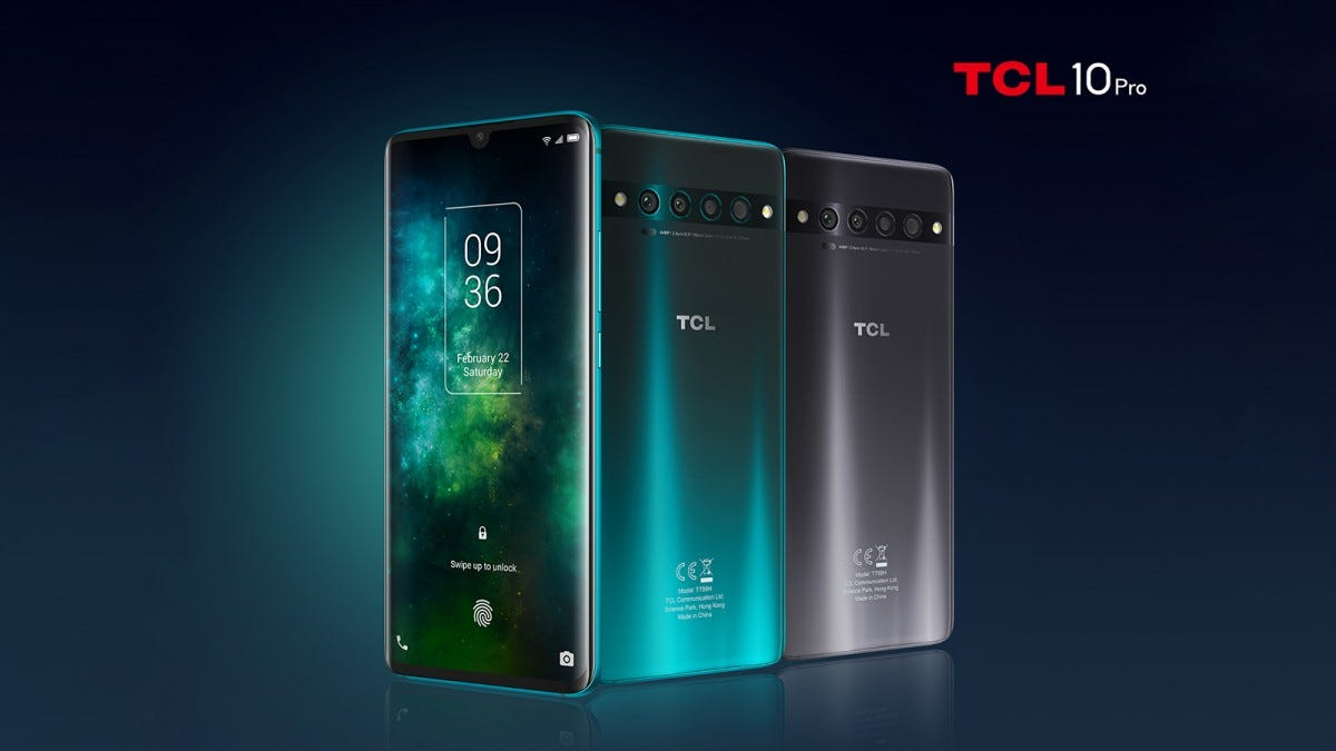 Three TCL phones with four main cameras.