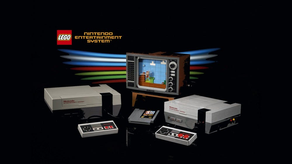A LEGO NES, with controller, game cartridge, and TV