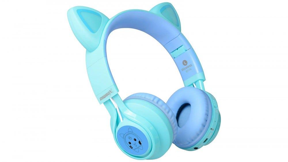 Riwbox kids headphones with LED cat ears