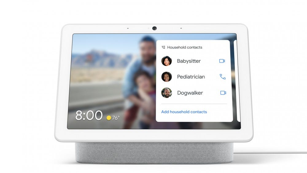 A list of household contacts on the Googe Nest Hub Max
