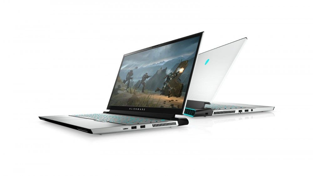 A Dell Alienware laptop with Cherry MX keys