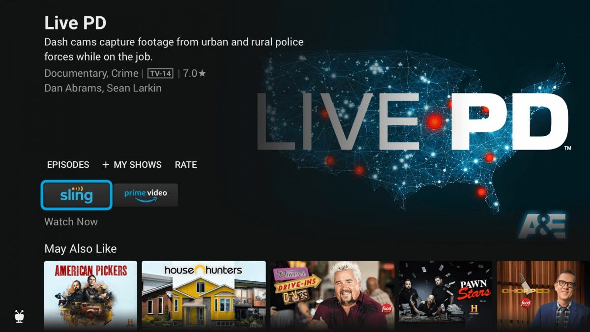 The TiVo Stream 4K interface, showing various shows from different streaming services.