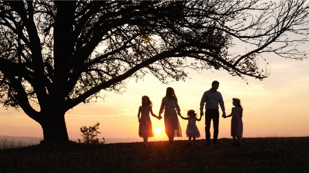 Silhouettes of a happy family walking in the meadow near a big tree during sunset. Family spending time together.