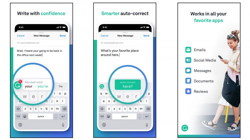 Grammarly iOS keyboard correcting typos, using correct grammar, and making your writing stronger
